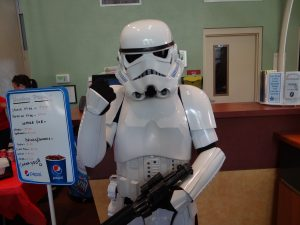 Star Wars stormtrooper guarding the food supply